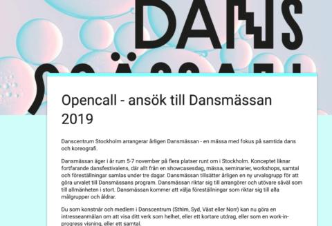 Opencall/utlysning till årets Dansmässa
